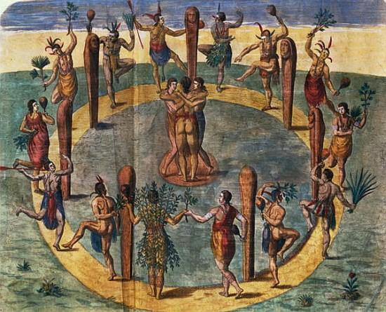 image: John White - Indian ritual dance from the village of Secoton, viahttp://www.kunstkopie.de/a/white-john/indianritualdancefromthev.html