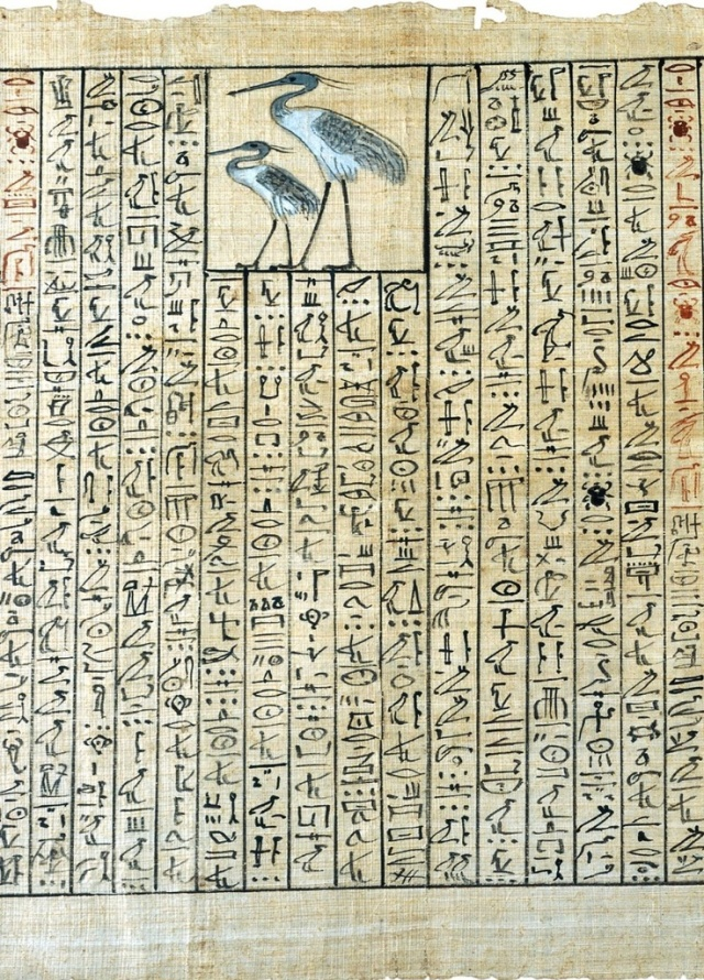 Papyrus from the Book of the Dead of Nakht (detail), showing two Benu