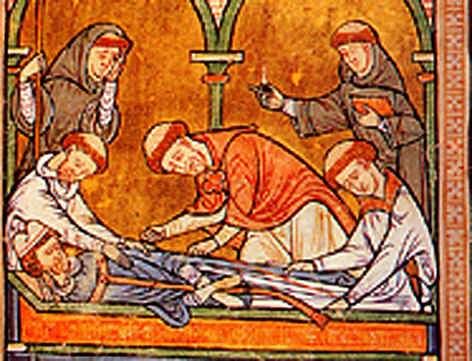 """Thomas Becket's body was still on the cathedral floor when people from Canterbury came in and tore off pieces of his clothes and then dipped these pieces in his blood. They believed that they would bring them luck and keep evil away."" Via http://www.historylearningsite.co.uk/thomas_becket.htm"