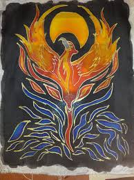 Phoenix silk painting, image via https://www.flickr.com/photos/natsart/5359512905/