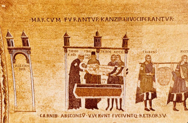 The Stealing of St. Mark's Body, Chapel of San Clemente, Basilica of San Marco, 12th century (image via http://venice11.umwblogs.org/the-myth-of-st-mark/)