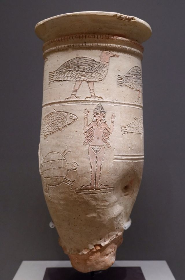 Ishtar vase, goddess with bird feet