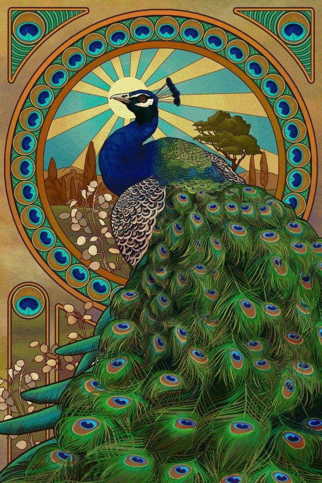 Image via http://chronoperates.deviantart.com/art/Art-Nouveau-Peacock-272202614