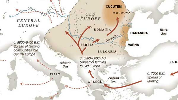 "The phrase ""Old Europe"" refers to Neolithic Europe, or the portions of the European continent inhabited by people who made pottery and lived in small villages, ate domesticated and wild plant foods, between about 7000 BC and around 1500 BC; via http://thesga.org/2009/12/what-is-old-europe/"