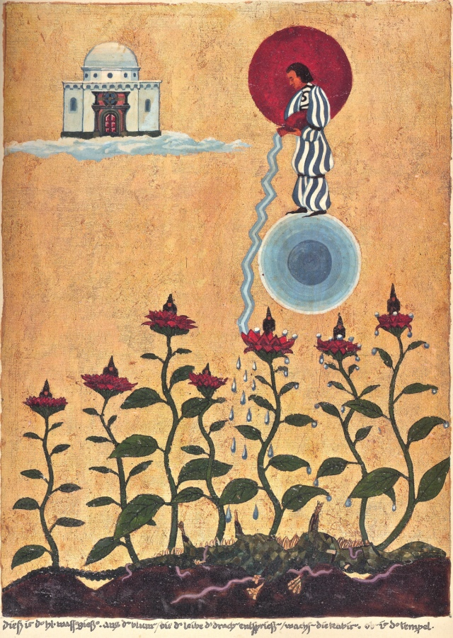 "Painting by Jung from The Red Book: ""Watering Hades"" with the inscription: ""This the holy caster of water. The Cabiri grow out of the flowers which spring from the body of the dragon. Above the temple."""