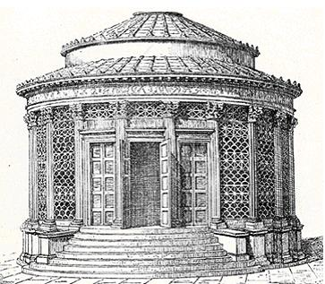 Reconstruction drawing of the temple of Vesta in the Roman Forum