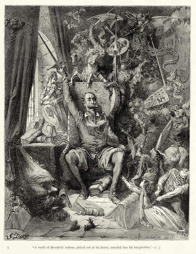 "Gustave Dore, ""Don Quixote goes mad from reading of books of chivalry"""
