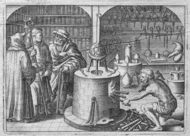 The Library and the Laboratory (From Michael Maier, Tripus Aureus, Frankfurt, 1677)