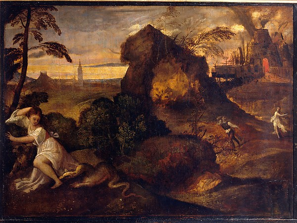 "Titian, ""Orpheus and Eurydice"" (on the left Eurydice dies bitten by a snake, on the right Orpheus makes an error of looking back and loses her forever)"