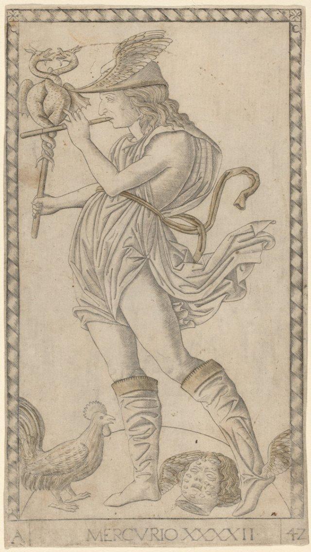 "Tarocchi di Mantegna E-series, ""Mercurio,"" image via https://images.nga.gov/?service=search&action=do_quick_search&language=en&mode=&q=Tarocchi&qw=&page=2&grid_layout=1&grid_thumb=7"