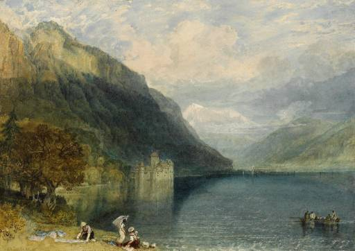 "J.M.W. Turner, ""The Castle of Chillon"" featured in Byron's narrative poem ""The Prisoner of Chillon"" (""Lake Leman lies by Chillon's walls: /A thousand feet in depth below / Its massy waters meet and flow / … and like a living grave / Below the surface of the lake / The dark vault lies wherein we lay: / We heard it ripple night and day"")"