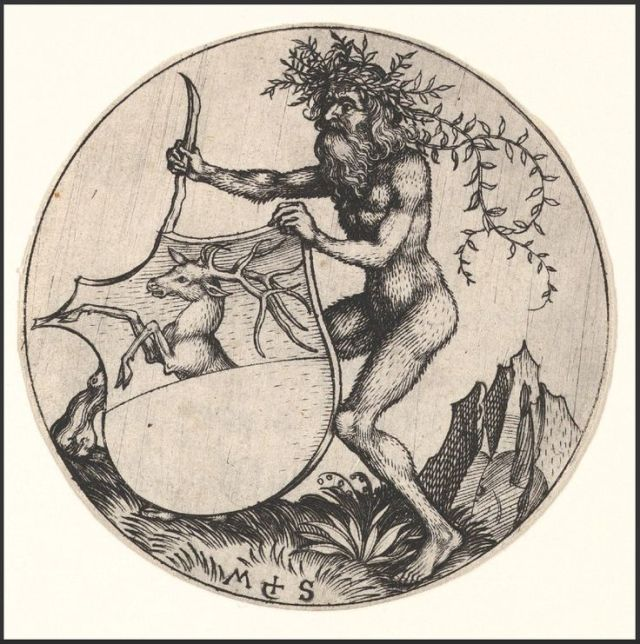 Martin Schongauer (German, c, 1435/50-1491), Shield with Stag Held by Wild Man. Engraving. Metropolitan Museum of Art, New York