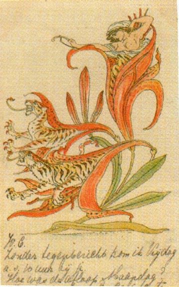 "Walter Crane, ""Then lilies turned to tiger blaze, amid the garden's tangled maze"""