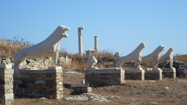 Delos temple, white lions, via Wikipedia