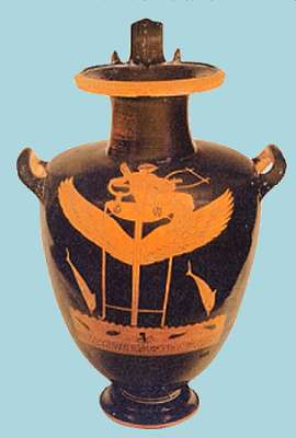 A vase depicting Apollo on a winged tripod over the sea with dolphins