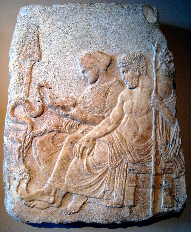 Asclepius and Hygieia feeding the snake