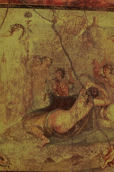 Dionysos surprising the sleeping Ariadne; Pompeian wall painting (House of the Vetti)