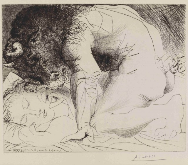 "Picasso, ""Minotaur kneeling over sleeping girl"""