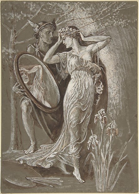 Walter Crane_The Mirror of Venus_1890_Watercolour and Gouache_13 15_16x10 in (35.4x25.4cm)